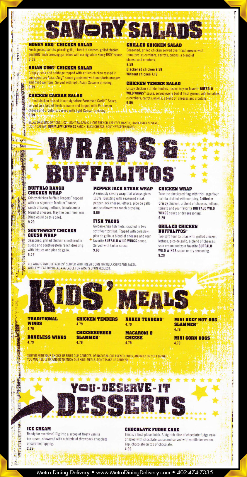 Buffalo Wild Wings Menu Nutrition Pdf