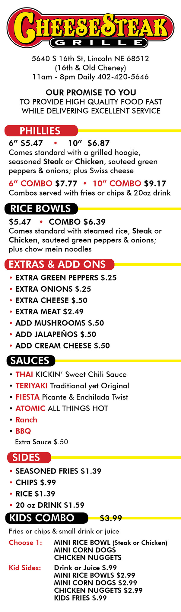 Cheesesteak Grille Menu 5640 S 16th St Lincoln Ne