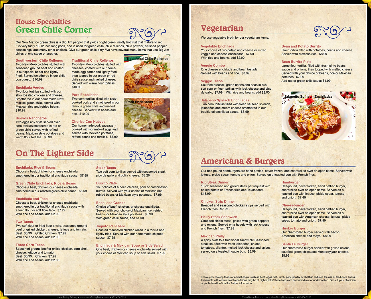 La Paloma Mexican Restaurant Menu 402 489 3683 Lincoln